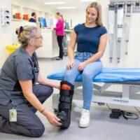 Urgent Care broken leg patient being treated